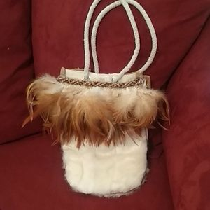 Super Cute Hand Crafted Purse w/fur and feathers